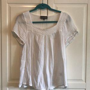 Women's White Cotton Flared Shirt